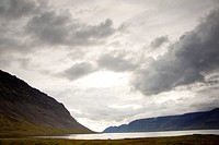 Dynjandisvogur fjord _ Iceland. Rainy day.