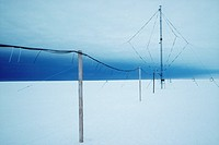 Antarctic research station. VLF Very Low Frequency aerial at the Halley Research Station, Antarctica. This device is designed to monitor, record and m...