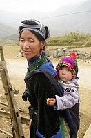 Black Hmong ethnic woman and baby