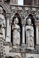 The West Facade was built between 1220 and 1240. In the Gallery of Kings all the statues date to the restoration conducted by Viollet_le_Duc in the 19...