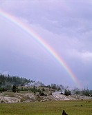 Rainbow over thermal area along the Firehole River, Upper Geyser Basin, Yellowstone National Park, Wyoming, USA
