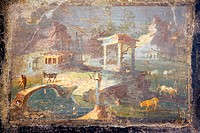 Italy, Naples, Naples National Archeological Museum, Landscape with Animals to Pasture
