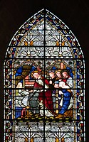 A stained glass window, depicting a scene from Expositio in Matthaeum, a commentary on the Gospel of Matthew. It was written by Hrabanus Maurus, the a...