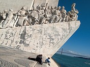 Monument to the Discoveries and 25 April bridge over Tajo river, Lisbon, Portugal
