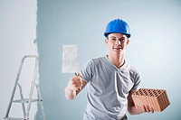 Young man wearing hard hat holding trowel and brick