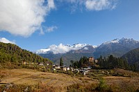 Paddy fields and village in the Paro Valley, Bhutan