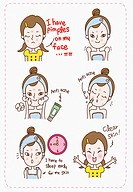 The step for removing acne on the face