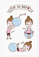 The various motions using the gym ball for body