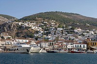 Harbour, view from the sea, Hydra, Idhra, Saronic Islands, Greece