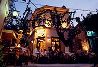 Psara´s Fish Restaurant in the evening light, Plaka, Athens, Greece