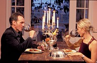 Middle aged couple, Candle light dinner, Luxury restaurant