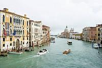 View along Grand Canal to Santa Maria della Salute, Venice, Veneto, Italy