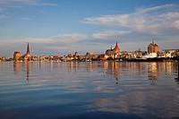 View over Warnow river to the Old Town and St Mary´s church, Rostock, Baltic Sea, Mecklenburg Western_Pomerania, Germany, Europe