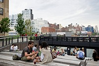 Urban theater, High Line Park, Meatpacking District, Manhattan, New York City, New York, USA