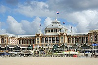 Beach and promenade in front of the Steigenberger Kurhaus Hotel, Scheveningen, The Hague, Den Haag, Dutch North Sea coast, South Holland, Netherlands