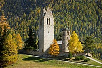 Ruins of the church San Gian in the sunlight, Engadin, Grisons, Switzerland, Europe
