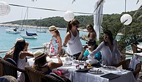 Women in a restaurant, Palmizana, Paklinski Islands, Hvar, Split_Dalmatia, Croatia
