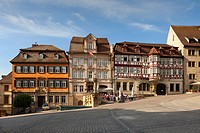 Street cafe and houses at historical marketplace, Schwaebisch Hall, Hohenlohe region, Baden_Wuerttemberg, Germany, Europe
