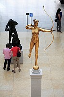 Diana by Augustus Sint-Gaudens display in the Charles Engelhard Court in the American Wing of the Metropolitan Museum of Art  Manhattan  New York City...