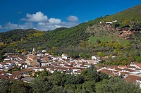 Panoramic view with «Peña de Arias Montano», Alajar, Huelva-province, Spain,