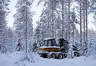 Ponsse Elk harvester in the forest at Winter  Location Suonenjoki Finland Scandinavia Europe