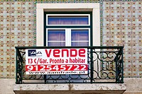 Sign, property for sale in Lisbon, Portugal, Europe