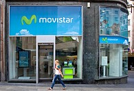 Branch of the Spanish mobile operator Movistar, in Madrid, Spain, Europe