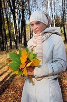 romantic girl in an autumn wood