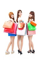 three happy asian shopping woman