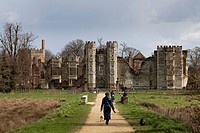 The ruins of Cowdray House, a historic tudor house, at Midhurst, West Sussex, England, United Kingdom, Europe