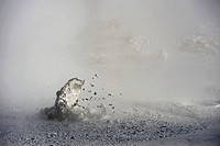 Geysers with water vapour, Uyuni, Bolivia, South America