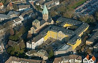 Aerial view, St Ludergus Abbey Church in Essen-Werden, Folkwang University of the Arts, Essen-Werden site, Essen, Ruhr Area, North Rhine-Westphalia, G...