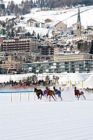 Skijöring race during White Turf in St Moritz, Switzerland