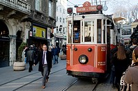 Man walking near the tramway. City of Istanbul, Turkey