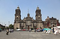 Metropolitan Cathedral, the largest church in Latin America, Zocalo, Plaza de la Constitucion, Mexico City, Mexico