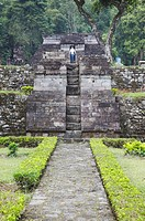 Tourist at Inca style temple built without use of mortar, Candi Sukuh, Solo, Java, Indonesia, Southeast Asia, Asia