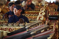 Members of gamelan performance inside Kraton Palace of Sultans, Yogyakarta, Java, Indonesia, Southeast Asia, Asia