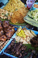 Food on street stalls, Yogyakarta, Java, Indonesia, Southeast Asia, Asia