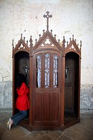 Confession booth, La Ferte_Loupiere, Yonne, Burgundy, France, Europe