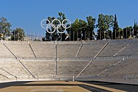 Europe, Greece, Attica, Athens, Olympic stadium, Panathinaikon stage, Olympic Games, modern times, 1896, marble, Olympic rings, architecture, trees, H...