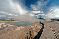 midway geyser basin, Yellowstone, national park, Wyoming, geyser, hot spring, nature, USA, United States, America, bridge