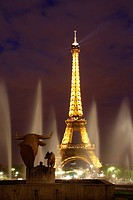 Eiffel Tower and Trocadero at night, Paris, France, Europe