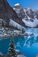 Looking across the beautiful Moraine Lake, Canada, North Americ