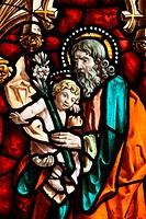 Joseph and Jesus, stained glass, San Jeronimo´s church, Madrid, Spain, Europe