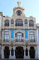 The ornate facade of one of the many Art Nouveau style buildings that line the Central Canal in Aveiro, Beira Litoral, Portugal, Europe