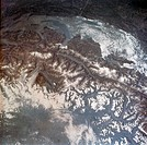 View of the Alps Mountains area, including Switzerland, France, Italy, and Lake Geneva. Photographed by the astronauts aboard the Skylab space station...