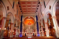 Interior Saint Peter and Paul Catholic Church Completed 1924 San Francisco California Christ the Pantocrator, Christ the All Powerful, in the Backgrou...