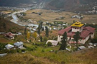 Paro Dzong from above, Paro, Bhutan