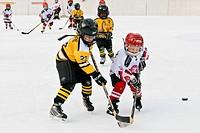 Ice hockey game, Sonogno, Switzerland