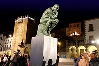 CACERES,SPAIN,DECEMBER 2011-Temporary exhibition of sculptures by Rodin in the main square of Caceres ,-on December 15, 2011 in Caceres old city, Extr...